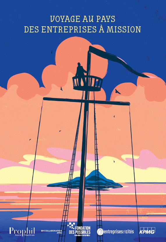 Couverture de l'ouvrage voyage au pays des entreprises à mission avec une illustration colorée d'un mat de bateau